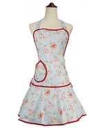 LilMents Floral Pastel Blue With Red Highlights Kitchen Fashion Apron - $37.92