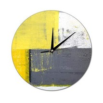 Mesllings Scale-Free Wall Clocks Abstract Painting Design with Yellow Gr... - $31.56