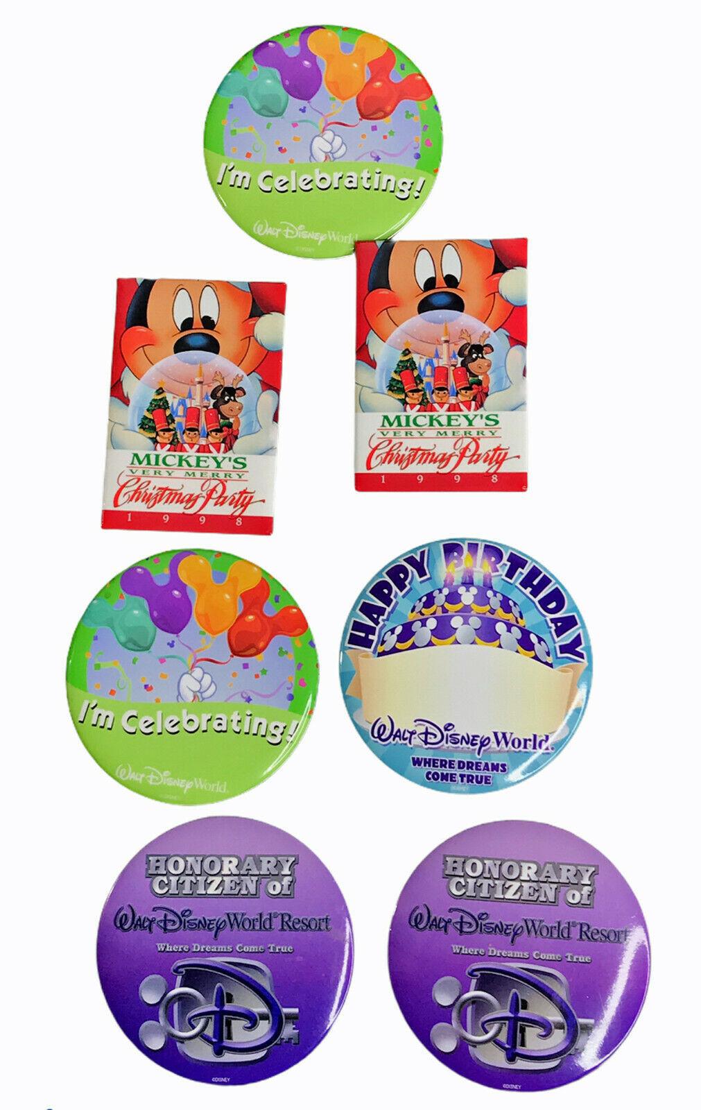"Walt Disney World 3"" metal pinbacks (lot of 7 ) including Mickey's Christmas - $16.44"