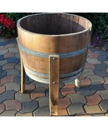 Planter Wine 1/2 Barrel with Legs Wood Plant Garden Patio Flower Outdoor... - $246.51
