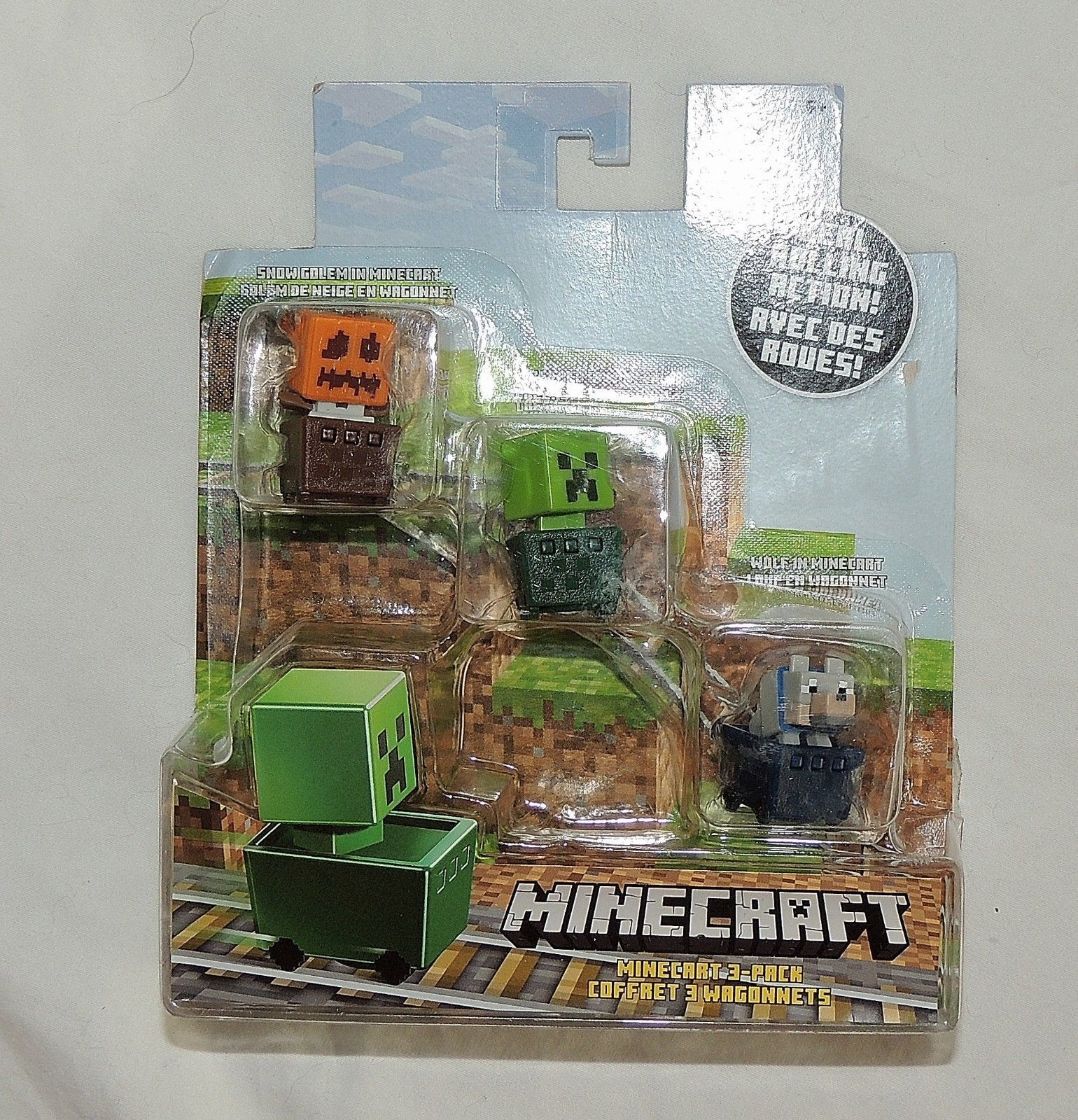 NEW Minecraft Minecarts 3 Pack Cars Snow Golem Creeper Wolf Cart cars