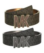 Michael Kors Women's Premium MK Logo Signature Plaque Faux Leather Belt ... - $37.95