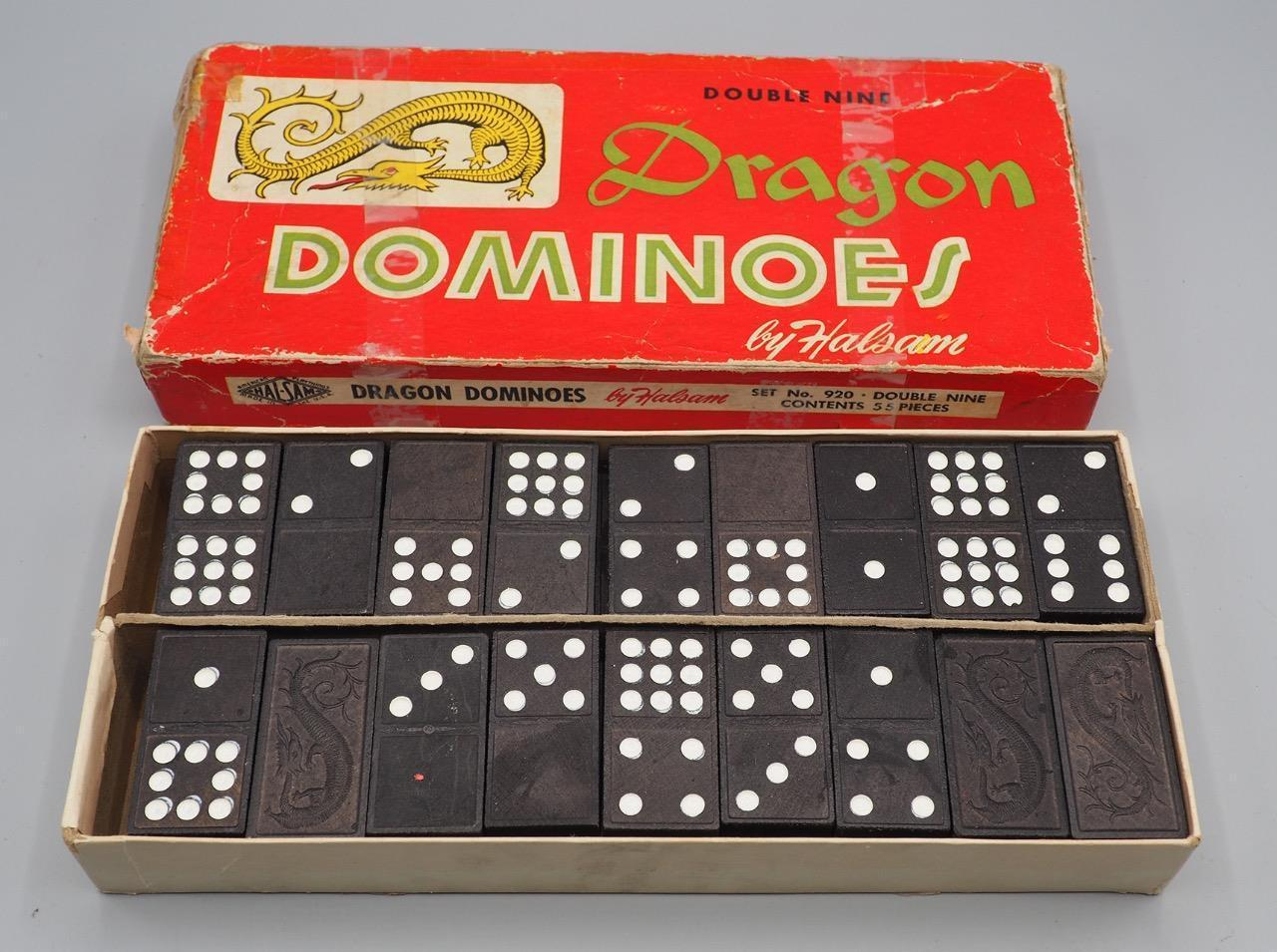 Vintage Dragon Dominoes by Halsam No. 920 Double Nine 54 Pieces