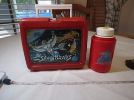 SilverHawks lunch box Thermos set vintage RARE Silver Hawks Telepix red ... - $55.23