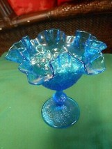 Beautiful Vintage FENTON Blue Candy Dish Compote with Marbles - $15.43