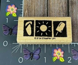 Stampin' Up! Summer Rubber Stamp 2004 Sun Flip Flop Popsicle Beach Wood ... - $2.48