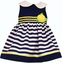 Bonnie Baby Baby Girls' Solid & Stripe Party Dress, Navy, Size 24 M, MSRP $50 - $21.77
