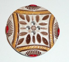Pretty Large Art Stone Button 4 Hole Sew Down Button - Tan & Red Colored - $7.42