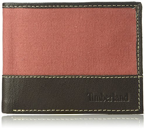 Timberland Men's Canvas & Leather Billfold Gift Set,red,One Size