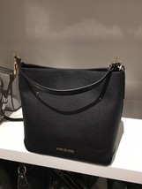 NWT Michael Kors Hayes Large Bucket Shoulder Bag Purse Leather Black Dar... - $129.95