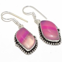 "Pink Lace Agate Gemstone Ethnic Jewelry Earring 1.8"" RJ3807 - ₹426.23 INR"