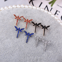 Crystal Dragonfly Trendy Stud Earrings For Girls Wholesale Jewelry - $5.82
