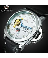 FORSINING Men's skeleton, automatic mechanical watch with leather strap.... - $59.99