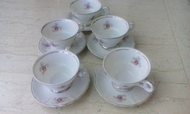 set of 5 vintage porcelain tea cups with saucers - $35.00