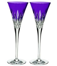 Waterford Lismore Pops Purple Champagne Toasting Flutes Set of 2 #400195... - $284.00