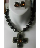 Vintage Massive Heavy Black / Amber Multi-Faceted Glass Necklace & Earrings - $84.15
