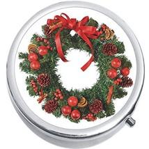 Christmas Wreath Medicine Vitamin Compact Pill Box - $9.78