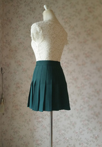 DARK GREEN Pleated Skirt Women Girls Campus Style Pleated Mini Skirt - Plus Size image 5