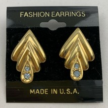 Vintage Light Blue Crystal Rhinestone Gold Tone Earrings Elegant NOS 198... - $14.80