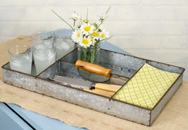 RUSTIC INDUSTRIAL DECOR Galvanized Metal Divided Tray 4 Compartments Bar... - €32,73 EUR