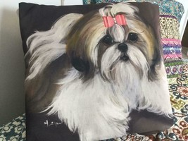 SHIH TZU PRINTED PILLOW FROM MONIQUE'S BEST SHIH TZU PAINTING - $145.00