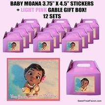 Baby Moana Party Favor Boxes Thank you Decals Stickers Loots PinK Party 12PC NEW - $25.69