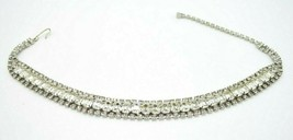 Clear Rhinestone Brillant Collar Choker Silver Tone Necklace Art Deco Style - $29.69