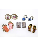 DETASH - Five Pairs of Vintage Clip-On and Screw-On Earrings - Four Sign... - $28.00