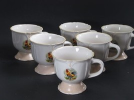 "Gibson Everyday Designs  Rooster 4"" Mugs Yellow trim Set of 6 - $19.79"