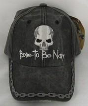 NEW Born To Be Navy with Skull Baseball cap hat. Grey. 5748 - $14.84