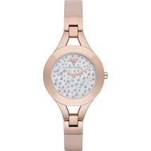 Emporio Armani AR7437 Rose Gold Tone Leather White Dial Ladies Watch - $215.89