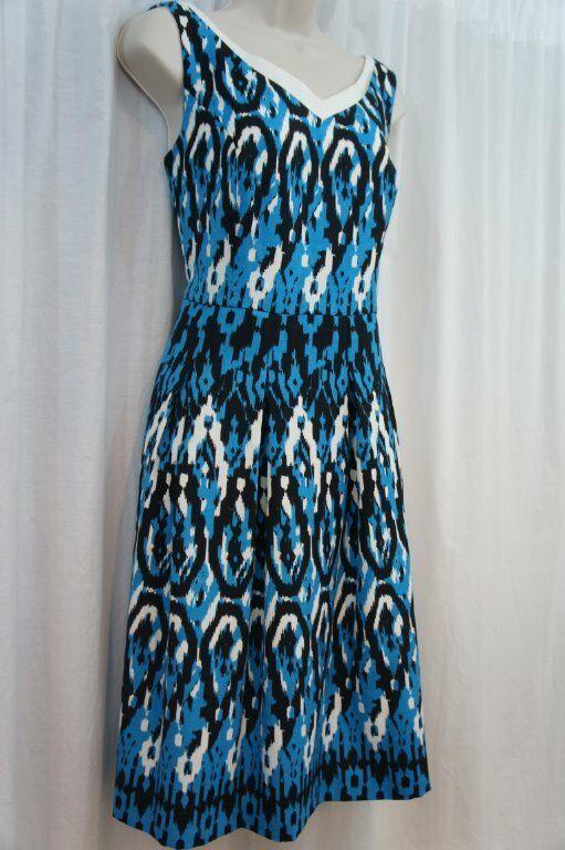 Anne Klein Dress Sz 12 Capri Blue Multi Sleeveless V-Neck Swing Career Cocktail image 4