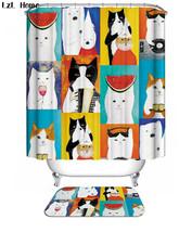 Animal Cute Cat 9 Shower Curtain Waterproof Polyester Fabric & Bath Mat Bathroom - $15.30+