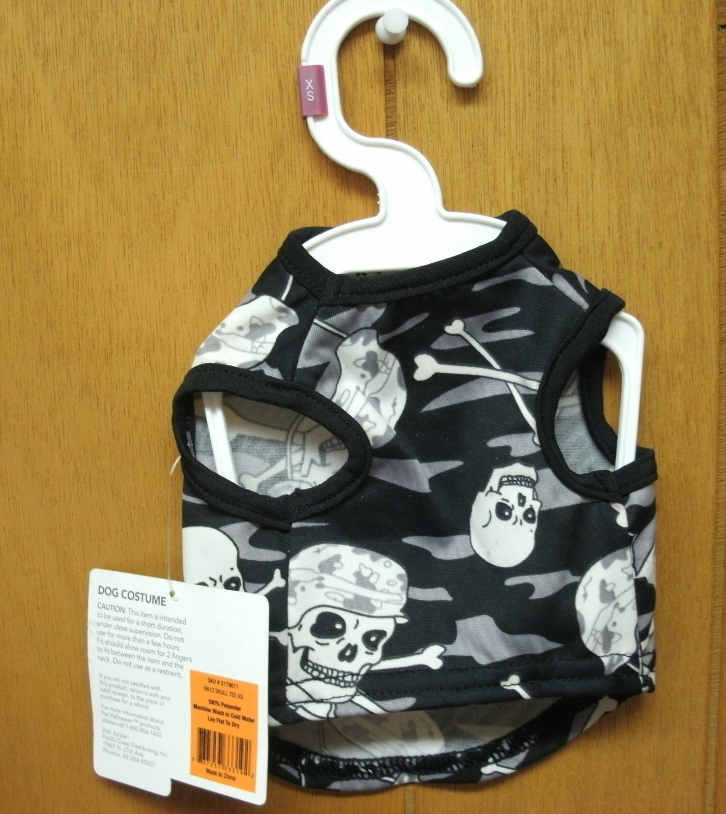 Primary image for SKULL and CROSSBONES CAMO DOG Costume XS & S - NEW - Glows in the Dark