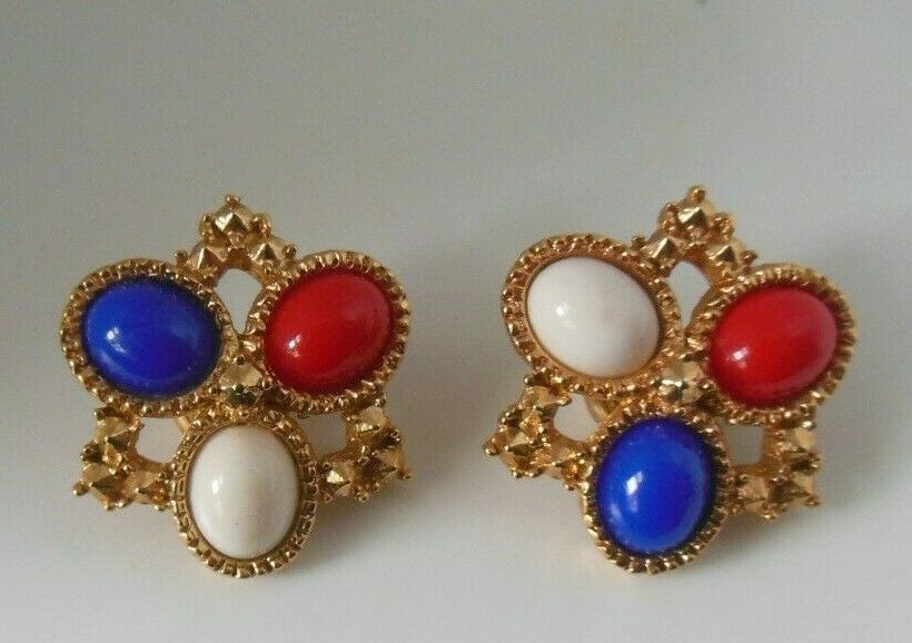 Primary image for Vintage Signed SARAH COVENTRY Red White Blue CAB Clip-on Earrings