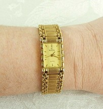 Elgin Watch Gold Tone Bracelet Band Rectangle Face EM898-017 New Battery Works - $25.73