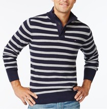 Tommy Hilfiger Mens Sweater Sz L New Silver Navy Striped Mock-Neck Pullover - $48.35