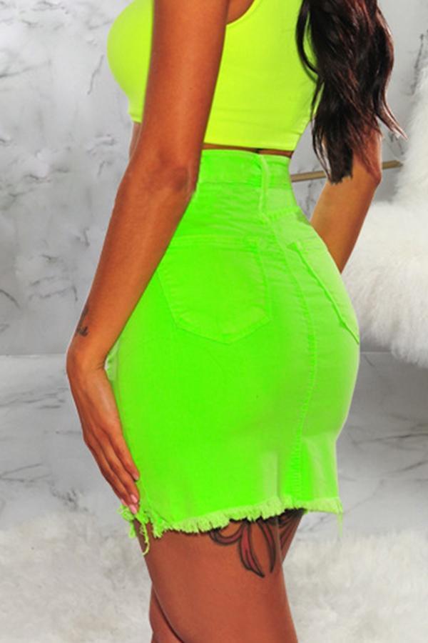 High Waist Broken Holes Denim Knee Length A Line Skirt