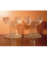 Art Deco Glass Candlesticks - Anchor Hocking Queen Mary 1930s Depression... - $7.20