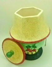 Pelzman Pottery Vintage Green Lamp With Strawberry Design  - $21.33