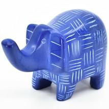 Vaneal Group Hand Crafted Carved Soapstone Blue Elephant Figurine Made Kenya image 2