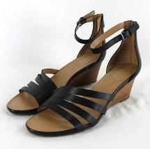 Franco Sarto Dutch Wedge Sandals Womens Sz 10 Black Leather Ankle Strap  - $27.99