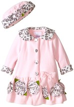 Bonnie Jean Baby Girls 12M-24M Pink Bonaz Rosette Border Fleece Coat/Hat Set
