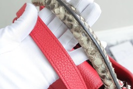 100% Authentic Louis Vuitton CAPUCINES MM Bag Red Taurillon Python image 7