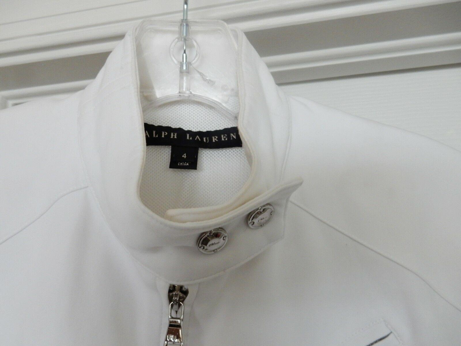 Ralph Lauren Women's Black Label Jacket Coat Bomber Biker Cotton Zipper White 4