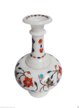 White Marble Flower Vase Pot Rare Inlay Gems Mosaic Floral Art Table Decor Gifts - $224.23