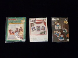 3 Christmas Cross Stitch Kits Bucilla Dimensions Lot Bulk NOS - $32.39