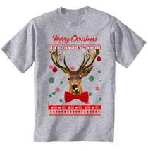 Merry Christmas Reindeer Funny - New Cotton Grey Grey Tshirt - $23.21