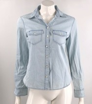 Aeropostale Top Small Light Blue Cotton Chambray Button Up Collared Shir... - $12.67