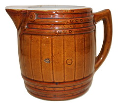 Uhl Barrel Pitcher Brown Huntingburg IN w/ Stamp on bottom - $25.95